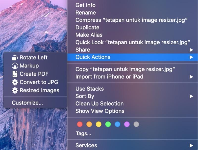 contoh menggunakan fungsi quick action dalam macOS